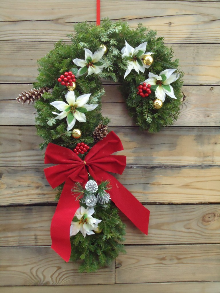 Candy Cane Wreath White Dog Farms