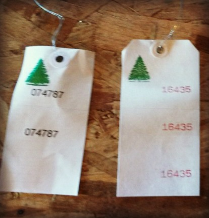 Here's a sample of the two and three part Christmas tree tags.